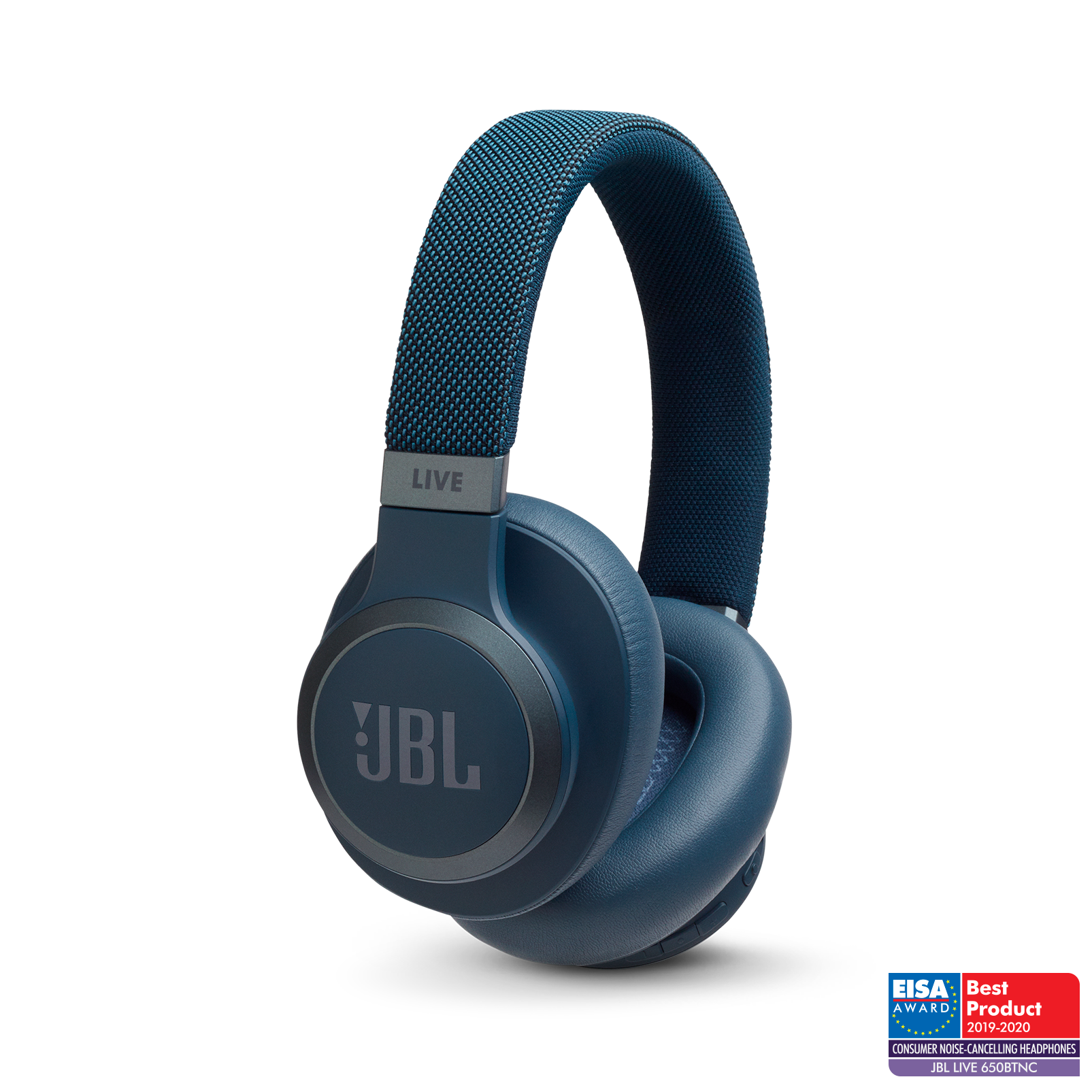 JBL LIVE 650BTNC - Blue - Wireless Over-Ear Noise-Cancelling Headphones - Hero