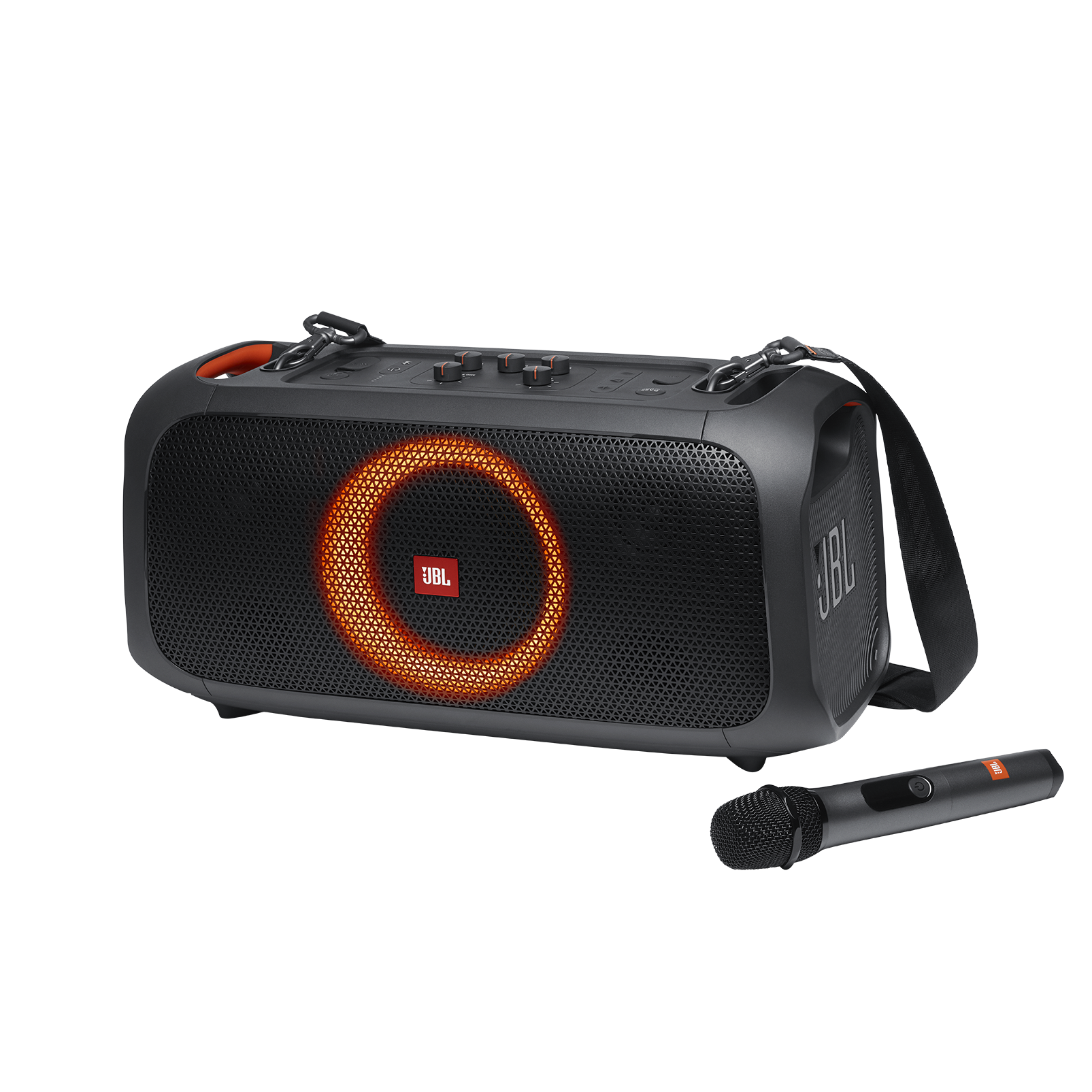JBL PartyBox On-The-Go - Black - Portable party speaker with built-in lights and wireless mic - Hero