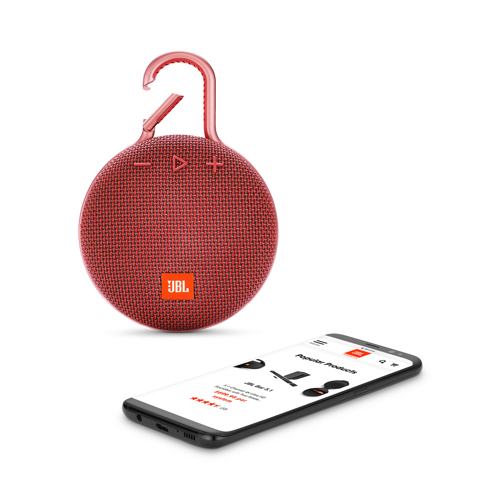 JBL CLIP 3 - Fiesta Red - Portable Bluetooth® speaker - Detailshot 1